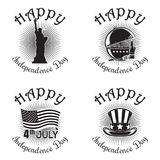 US Independence Day icon set. Set icon for Independence Day. Happy Independence Day. Statue of Liberty, BBQ and beer bottle,  Stars and Stripes flag of the USA Royalty Free Stock Images