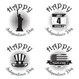 US Independence Day icon set. Set icon for Independence Day. Happy Independence Day. Statue of Liberty, calendar with the date July 4, Uncle Sam hat, heart Vector Illustration