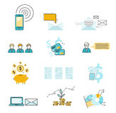 Set icon investment negotiation correspondence Stock Photos
