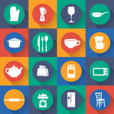 Set icon of kitchen in flat design. Vector Stock Image