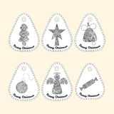 Set of icon with line ornament. Christmas collection. Royalty Free Stock Images
