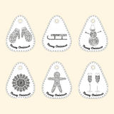 Set of icon with line ornament. Christmas collection. Royalty Free Stock Photography
