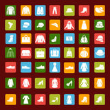 Set icon  of men and women fashion clothing and accessories Royalty Free Stock Photo