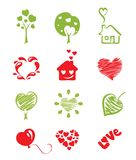 Set icon objects hearts. Vector illustration - a set of icons on the theme Hearts and Love royalty free illustration