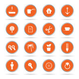 Set of icon in orange circle vector illustration Stock Images