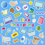 Set of icon patches on the subject  of online shopping and Internet shops. Icons set of patches on the subject  of online shopping and Internet shops Stock Photography
