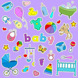 Set of icon patches on the topic of childhood and newborn , signs on a purple background Royalty Free Stock Photography