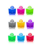 Set of Icon People with Colorful Book Sign. Illustration Stock Image