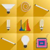 Set icon phyto led equipment light for plants Royalty Free Stock Images