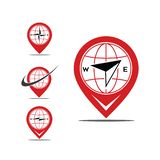 Set of pin map compas. Set icon pin with compass in it, available for logo or icon website also for address icon royalty free illustration
