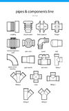 Set icon pipes and components royalty free stock photography