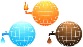 Set icon with planet resources. Set isolated icon with planet resources - petroleum, water and gas fire Royalty Free Stock Image