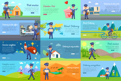 Set of icon with postman characters and mail boxes Royalty Free Stock Photos