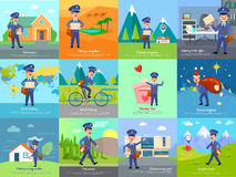 Set of icon with postman characters and mail boxes Royalty Free Stock Photography