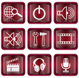 Set icon red #03. Isolated on white background. Search and magnifier icon, Power icon, speaker icon, tools icon, film icon, movie clapper board icon Stock Photo