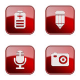 Set icon red  glossy #29. Royalty Free Stock Images