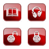 Set icon red glossy #18. stock photography