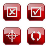 Set icon red  glossy #22. Royalty Free Stock Photo