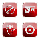 Set icon red glossy #30. Stock Photo