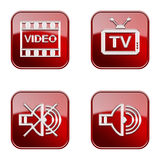 Set icon red  glossy #08. Stock Image