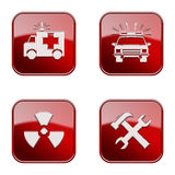 Set icon red glossy #20. stock images
