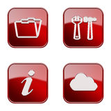 Set icon red glossy #10. stock images