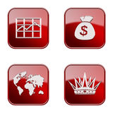 Set icon red glossy #16. Royalty Free Stock Image
