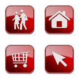 Set icon red glossy #09. stock photo