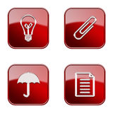 Set icon red  glossy #11. Royalty Free Stock Image
