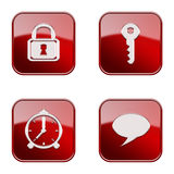 Set icon red glossy #12. Set icon red #12, isolated on white background. Lock icon, Key icon, alarm clock icon, Chat icon royalty free illustration
