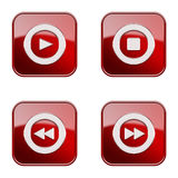 Set icon red  glossy #24. Royalty Free Stock Image