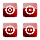 Set icon red glossy #25. Royalty Free Stock Images