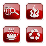 Set icon red glossy #01. Set icon red #01, isolated on white background.Recycling symbol icon, coffee cup icon, Industry warning sign, globe and magnifier icon Royalty Free Stock Images