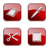 Set icon red glossy #15. Set icon red #15, isolated on white background. Table icon, Pen icon, Scissors icon, Notebook icon royalty free illustration