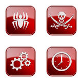 Set icon red  glossy #14. Stock Images
