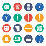 set icon of sewing in flat design .Vector Royalty Free Stock Photography