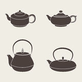 Set  icon silhouette teapots. Vector set of  icon silhouette teapots Stock Images