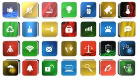 Set icon,sing,button,3D illustration Stock Photography