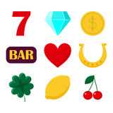 set of icon slot machine. Sign casino and gambing. Stock Images