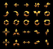 Set icon and symbol arrow direction gold golden Royalty Free Stock Photos