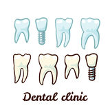 Set icon of teeth  and tooth with a pin. Royalty Free Stock Photo
