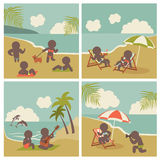 Set icon vacation people on the sea Stock Images