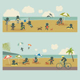 Set icon vacation people on the sea. Vector illustration Stock Photography
