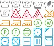 Set icon of washing signs Royalty Free Stock Photos