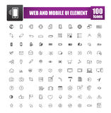 Set of 100 icon for web and mobile smart phone ui element vector Stock Images