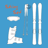 Set icon of winter sports equipment icons - ski and ski sticks, shoes, mask. Stock Photos