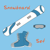 Set icon of winter sports equipment icons - snowboard and shoes, mask. Stock Images