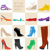 Set of icon women shoes in flat style. Vector icon set of spring and summer women shoes in flat style . Fashion design, elegance, femininity. Web infographics Royalty Free Stock Images