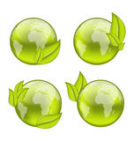 Set icon world with eco green leaves isolated on w Stock Images