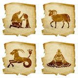 Set icon zodiac old #02. Royalty Free Stock Photography